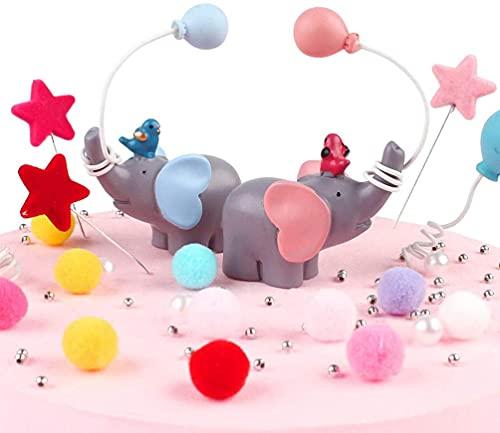 Elefante Torta Topper, BESTZY 2 Decorazione Torta Elefante, Elefante Resina Decorativa per Torta, Decorazione per torta Resina Forma Elefante, per Compleanno, Decorazione per Torte