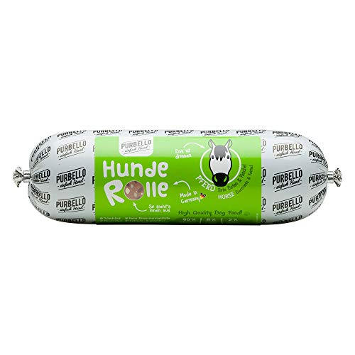 PURBELLO Hunde-Rolle Pferd mit Roter Bete & Fenchel - Monoprotein Hundefutter mit hohem Fleischanteil - Nassfutter für Hunde - Hundewurst schnittfest & getreidefrei - 8 x 800 g