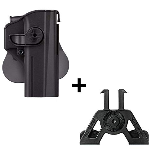 IMI CZ SHADOW 2 Holster + Molle adapter attachment, polymer retention 360 roto level 2 safety w trigger guard lock tactical gun holster for CZ P-09 & Shadow2 pistol handgun