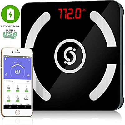 Cruxsolver Bluetooth Smart Scale Wireless USB Rechargeable 12 Measurements BMI Digital Weight Body Fat Composition Analyzer with Smartphone APP, lbs/kg