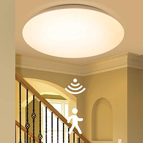 BULING 20W Deckenlampe mit Bewegungsmelder Innen Warmweiß Ø30cm IP65, Deckenleuchte mit Tageslichtsensor für die Wand und Deckenmontage in Fluren, Dielen, Treppenhäusern