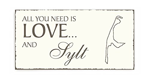 All you need is LOVE and SYLT Deko Schild Vintage Look ca. 20 x 10 cm