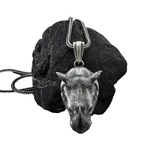 Collar personalizado, collar dominante para hombre, colgante de cabeza de rinoceronte salvaje, se puede utilizar como collar o cadena de suéter de moda