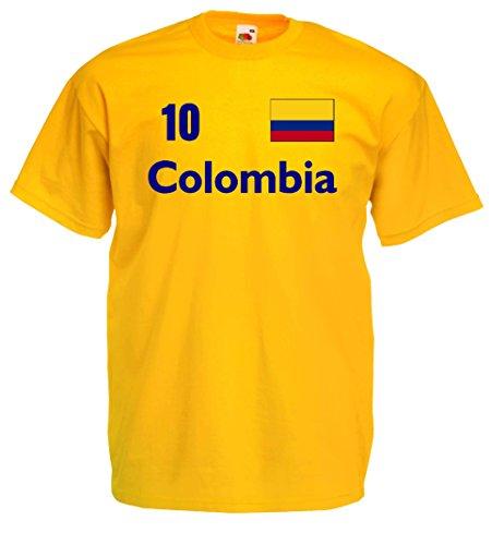 Fruit of the Loom Kolumbien Herren T-Shirt Columbia Trikot Nr.10 von S-XXL|M