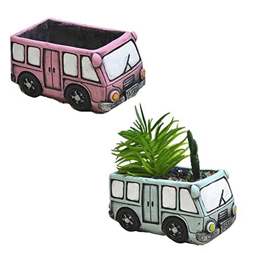 Kagodri Macetas de flores suculentas para coche, 2 mini macetas de cemento para flores, suculentas retro creativas macetas