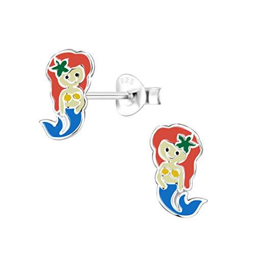 Laimons Pendientes infantiles de sirena, sirena, sirena, sirena, sirena, pez blanco azul y rojo, 11 x 6 mm, plata de ley 925