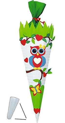 alles-meine.de GmbH BASTELSET Schultüte -  Eule auf AST  - 85 cm - mit / ohne Kunststoff Spitze - Zuckertüte zum selber Basteln - 6 eckig Mädchen Eulen Vögel Schmetterling Uhu ..
