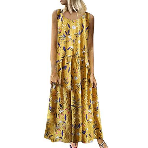 Tallas Grandes Vestidos Bohemio Mujer, Dragon868 Cuello Redondo, Estampado Floral, CláSico, Sin Mangas, Suelto Vestido Largo Largo, Falda de Playa, Vestidos Mujer Verano 2020, S-XXXXXL