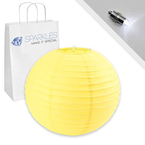 "Sparkles Make It Special 20"" inch Chinese Paper Lantern - Yellow - w/LED Lights - Wedding Party Event Decoration - 13 Colors and 8 Sizes Available"