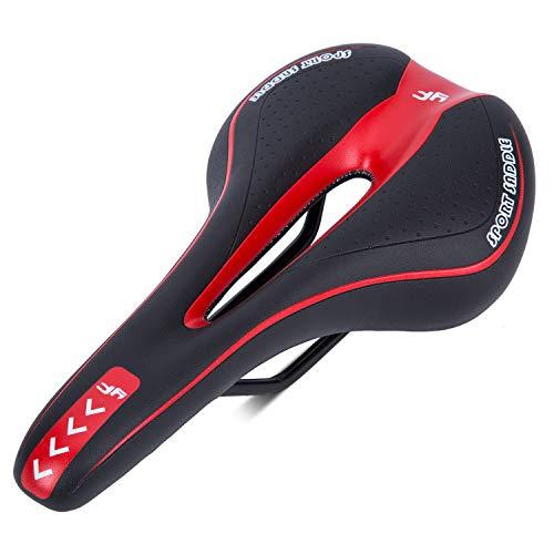 Asvert Sillín Bicicleta Gel MTB Carretera Asiento de Bicicleta Cómodo Acolchado de Espuma de Memoria con los Resortes, Negro y Rojo