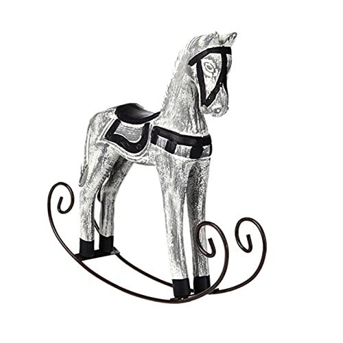 XINGTAO Décoration Artisanale Statue Décor Mariage Bois Artisanat Cheval Nordique Cheval à Bascule en Bois DIY Bar Salon Ornement Enfants Jouets Enfants (Color : Grey)