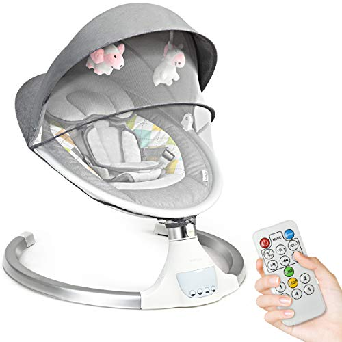 COSTWAY Electric Baby Bouncer Chair with Remote Control, Removable Mosquito Net, 5 Swing Amplitudes & 3-Stage Timing Function, Wireless Bluetooth USB Music Rocking Bed for Newborn Infant