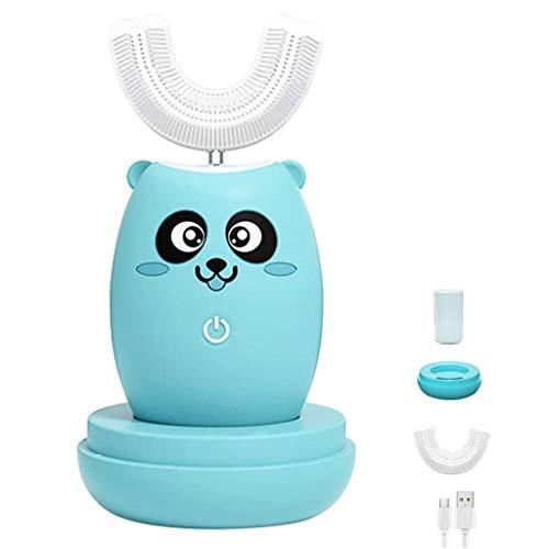 Elektrische Zahnbürste U-Förmige Automatische Kinderzahnbürste 3 Reinigungsmodus Drahtloses Schnellladen 360 ° Mundpflege Lila Leichte Desinfektion Für 2-12 Jahre Kinder,Blau,S