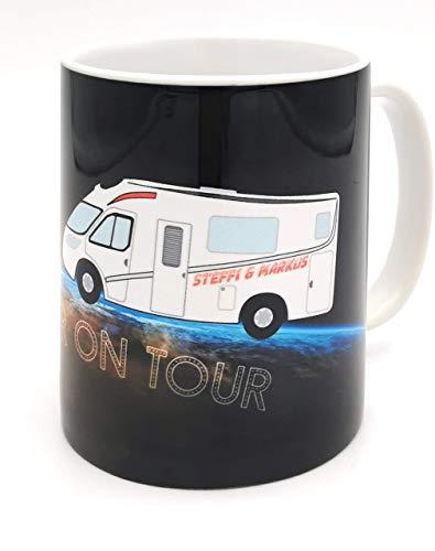 Tasse Camper, mit Namen personalisiert. Personalisierte Tasse für Campingliebhaber aus Keramik. Individuell bedrucktes Geschenk zum Geburtstag oder als Ostergeschenk.