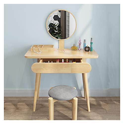 tocadores para recamara Conjunto de mesa de tocador con espejo y 1 cajón, mesa de tocador de vanidad, escritorio de cómoda y conjunto de taburos amortiguados para niña, dormitorio para mujeres Tocador