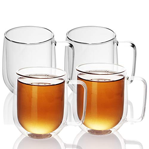 Intirilife 4X Doppelwandiges Thermo Glas Set in 250 ml – Mundgeblasen isoliert für Latte Macchiato, als Teeglas oder Kaffeeglas Spülmaschinen geeignet mit Henkel