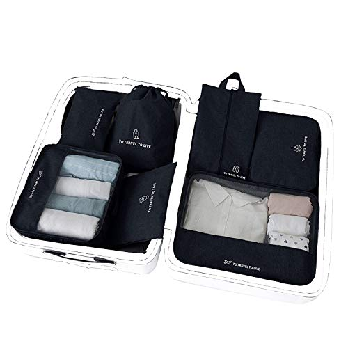 7 Pcs Travel Luggage Organizer Packing Cubes, Zipper Carry-on Travel Essential Bags for Suitcase, Cationic Waterproof Laundry Toiletry Cosmetic Storage Bag (Black)