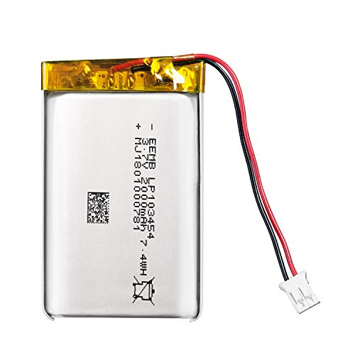 EEMB 3.7V 2000mAh Lipo Batterie Akku 103454 2Ah Lithium Polymer Batterien mit JST Stecker, Schutzplatine und Isolationsbeschichtung