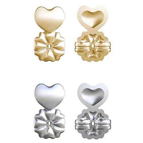 Magic Bax - Pendientes hipoalergénicos para todos los pendientes de poste, accesorios de joyería, pendientes elevadores para mujeres y niñas (2 dorados+2 plateados)