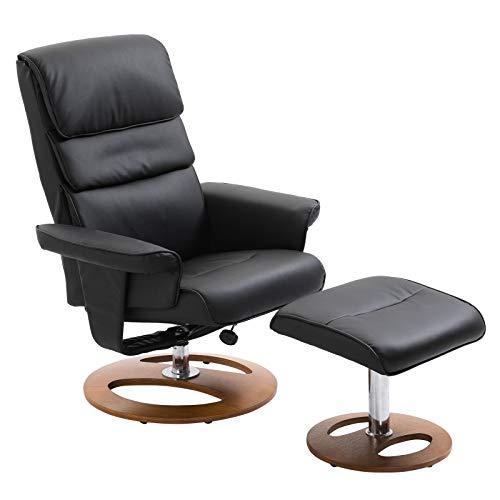 HOMCOM Relaxsessel mit Hocker Fernsehsessel Polstersessel 360° drehbar 145° neigbar PU-Bezug Holzfuß Schwarz 81 x 76 x 103 cm