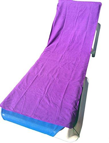YISAMA microvezel strandhanddoek voor tuinligstoel, ligbedovertrek strandstoel, strandhanddoek met zakken, zonnen baden sneldrogende doeken 184X65 CM lila