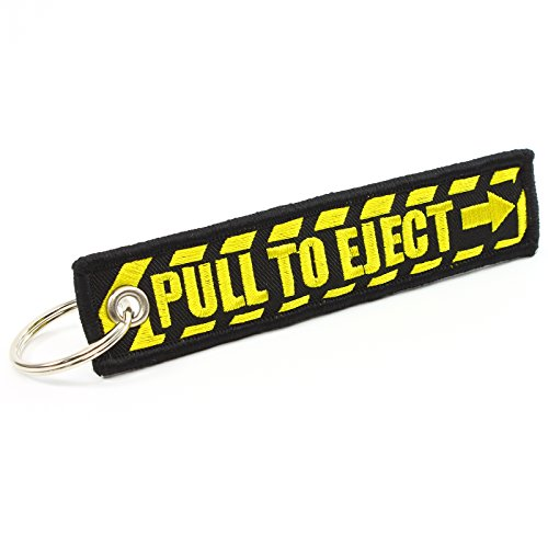 PULL TO EJECT Key Chain - Black/Yellow by Rotary13B1