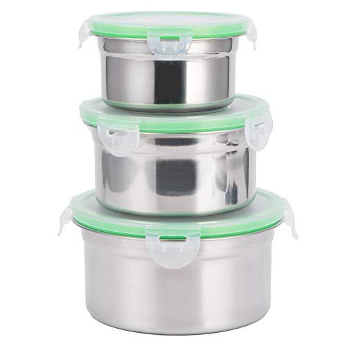 3 st/set kylskåp förvaringslåda 304 rostfritt stål förseglad konserveringsskål matbehållare med lock, konserveringsskål kylskåp förvaringslåda