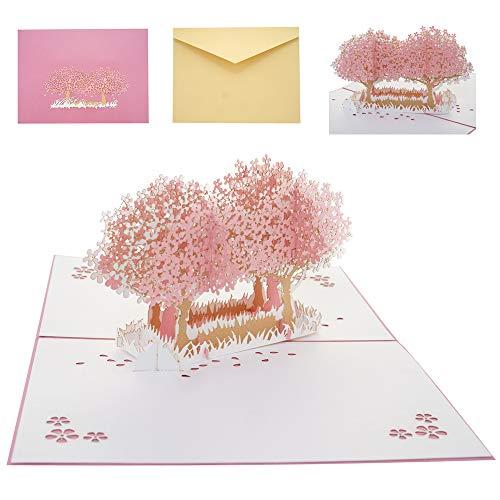 Huwelijkskaart wenskaart met envelop, 3D pauwenhenne pop-up kaart huwelijkskaarten felicitatie voor de bruiloft, bruiloft verjaardag, bruidsfeest, Moederdag, uitnodigingskaarten