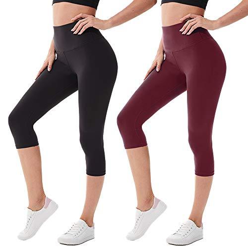 we fleece High Waisted Capri Leggings for Women - Tummy Control Workout Yoga Pants Athletic Sport 3 Pack Women's Leggings