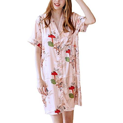 Asskyus Nachthemd für Damen, Nachthemd mit weichem Satin, Boyfriend Style (M, Rosa)