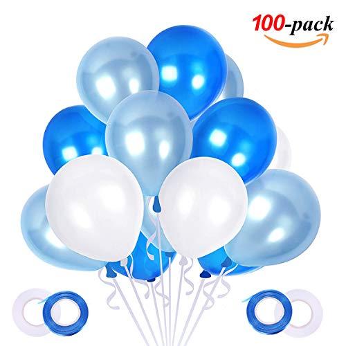 100 Stück Luftballons Blau Weiß,Helium Luftballons Geburtstag, Latex Helium Ballons für Hochzeit Geburtstag Junge Kinder Babydusche Taufe Konfirmation Deko, 3 Farbe