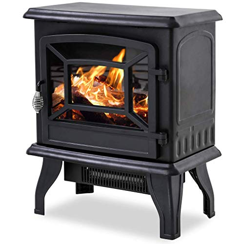 "Best Electric Fireplace Heater, Freestanding Fireplace Stove Portable Space Heater with Thermostat for Home Office Realistic Log Flame Effect, CSA Approved Safety - 1500W, 20""W x 17""H x 10""D, Black"