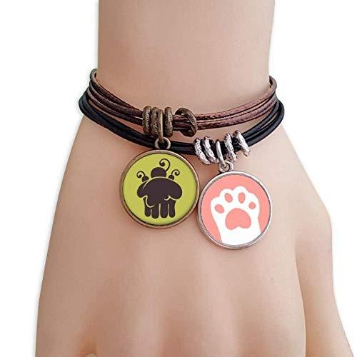DIYthinker Damen Kirsch-EIS Schmelzen Silhouette Katzen-Armband-Leder-Seil-Armband Paar Sets