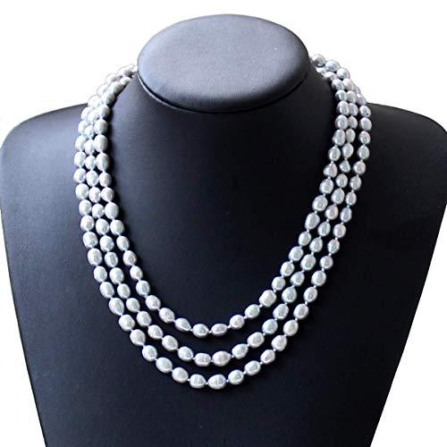 Süßwasserperlenkette Perlen-Halsketten -lange Strickjacke-Perlen-Ketten-Halskette