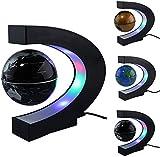 N/P Schwimmender Globus mit farbigen LED-Lichtern C-Form Anti-Schwerkraft-Magnetschwebebahn Rotierende Weltkarte für Kinder Geschenk Home Office Schreibtischdekoration (schwarz)