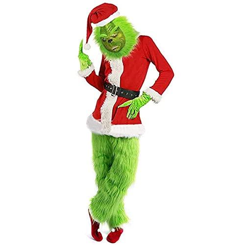 Z-Life Cosplay di Natale Costume Grinch Adulto Grande per Gli Uomini con Maschera Grinch Abito di Natale Xmas Deluxe Green Santa Suit Cosplay Fancy Dress, 7pcs (Size : XXX-Large)