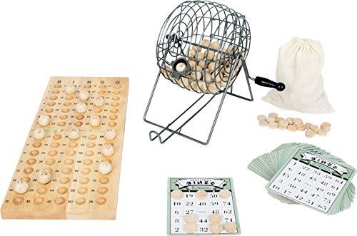 Small Foot 1831 Jeu de bingo avec mélangeur / tambour de loterie en métal, matériaux de jeu en bois, à partir de 6 ans