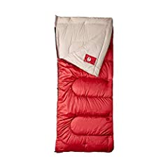 Adult sleeping bag for camping in temperatures as low as 30°F Accommodates most campers up to 5 feet 11 inches tall Polyester cover and tricot fiber blend liner provide warmth and softness ZipPlow system plows fabric away from teeth to prevent snaggi...