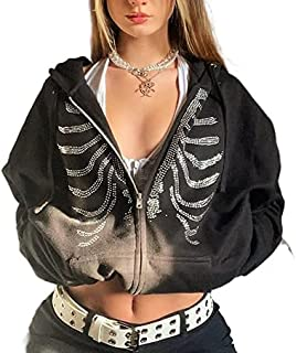 SMIMGO Y2k - Sudadera de gran tamaño con cremallera para mujer, sudadera de moda, chaqueta de gran tamaño, con bolsillo, r...