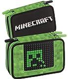 Panini Minecraft Astuccio scolastico Corredo 3 Zip Pieno di Cancelleria