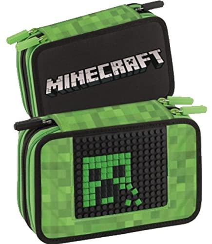 astuccio zip Panini Minecraft Astuccio scolastico Corredo 3 Zip Pieno di Cancelleria