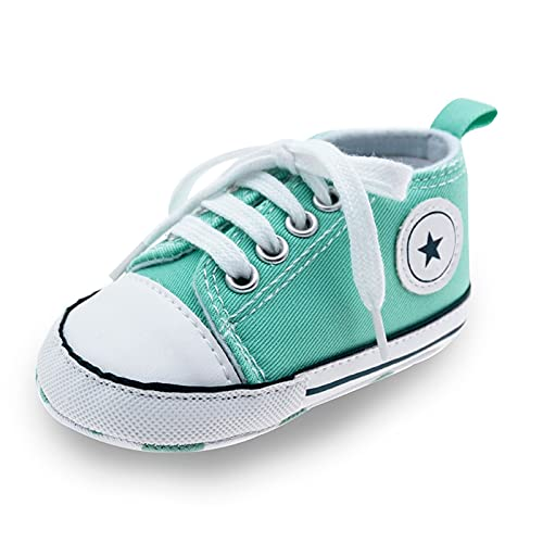 Baby Shoes Boy Girl Star Solid Sneaker Cotton Soft Anti-Slip Sole Newborn Infant First Walkers Toddler Casual Canvas Crib Shoes Comfortable (Baby Age : 13-18 Months, Color : Light Green)