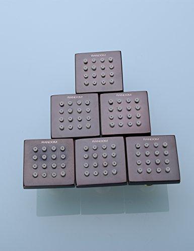 RANDOM Shower Spa Brass Square Massage Body Jets Spray Body Shower Set,Brushed Nickel. (Oil Rubbed Bronze 6 pcs)