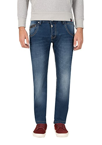 Timezone Herren Regular HaroldTZ Rough Straight Jeans, Blau (Crossedge Blue Wash 3356), W38/L32