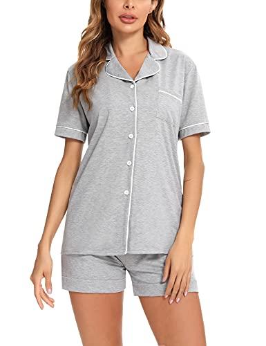 Aibrou Pijamas Mujer Verano Pijama Corto Mujer Algodon Conjunto Pijama Corto Botones Ropa de Dormir Mangas Cortas V Ropa Casual Dos Piezas