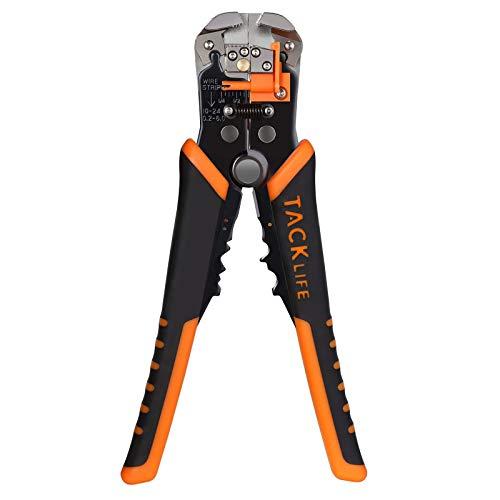 Pelacables, Tacklife MWS02 Alicate pelacables automático, Longitud 210mm, Rango de Pelar 10-24 AWG 0.2-6mm, Herramienta Multifuncional de Electricista especial para pelar/cortar/presionar el cable