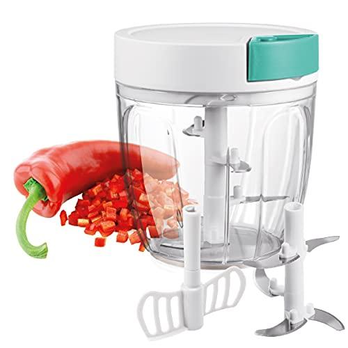 BERELA HOME Picadora y Batidora Manual Xtrem -5, Picadora Manual de Verduras y Alimentos de 900 ml, Cortador de verdura con 5...