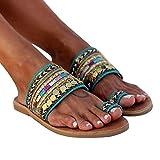 Aniywn Women Bohemian Sandals Clip Toe Flip Flops Flat Sandals Vintage Ethnic Style Sandals Summer Holiday Beach Shoes Green