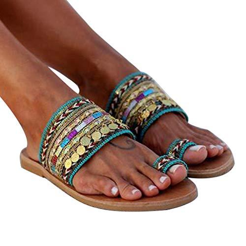 haoricu Womens Bohemia Beaded Slippers Artisanal Sandals Flip-Flops Sandals Plus Size Sandals Green