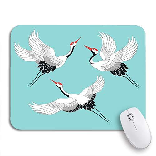 COFEIYISI Mauspad,Office Mauspad(240 * 200mm),Blauer Asiatischer der Vogelkranich-Storchenreiher-graues Fliegen,Rutschfeste Mousepad Matte für PC